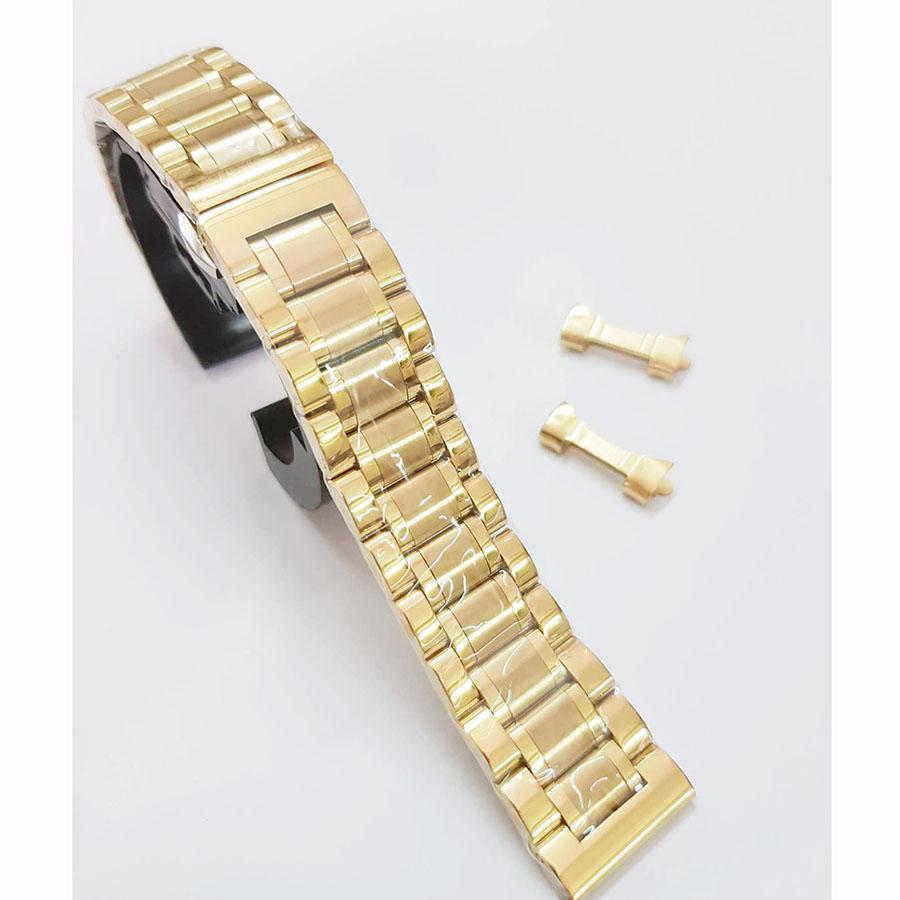 Dây đồng hồ thép không gỉ màu vàng - size 20mm, 22mm bán chạy