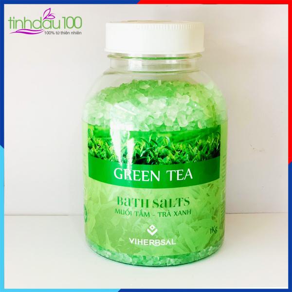 Muối tắm ngâm bồn trà xanh thư giãn, sát khuẩn, săn chắc, chống viêm da 1kg