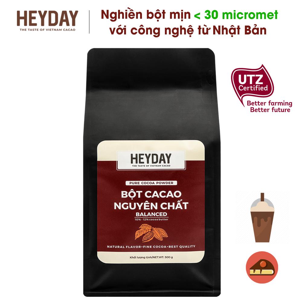 Bột Cacao Nguyên Chất 100% Việt Nam - Dòng Balanced Phổ Thông Túi 500g - Chuẩn UTZ Quốc Tế - Heyday Cacao Đang Ưu Đãi