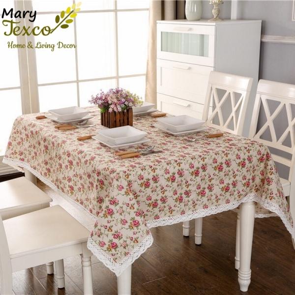 Khăn trải bàn nhà hàng, quán cafe Mary Texco vải bố linen đậm chất vintage  - họa tiết Hoa hồng nhí - KB-G04
