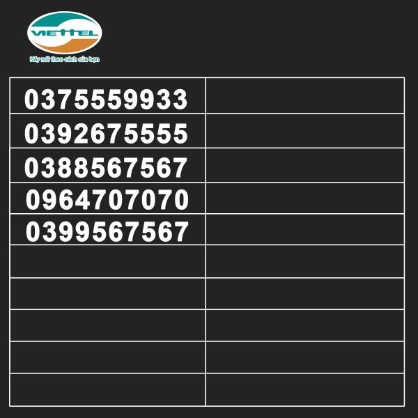 List VT135 Sim Số Đẹp Viettel đầu số đa dạng - sóng khỏe