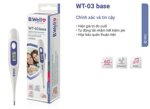 Nơi bán Nhiệt kế điện tử B.Well WT-03 đo nhanh trong 60s, có cảnh báo sốt và chống thấm nước, nhập khẩu từ Thụy Sỹ - KHK Healthcare