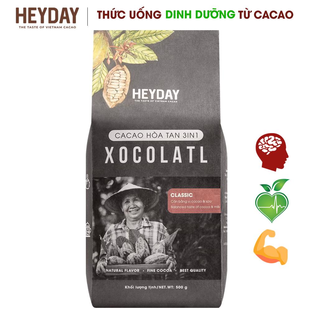 Bột Cacao Sữa 3in1 Xocolatl - Gu Truyền Thống Classic Túi 500g - Đậm đà Vị Cacao, Béo Vị Sữa - Thức Uống Dinh Dưỡng, Tiện Lợi Từ Cacao - Heyday Cacao Giá Cực Ngầu