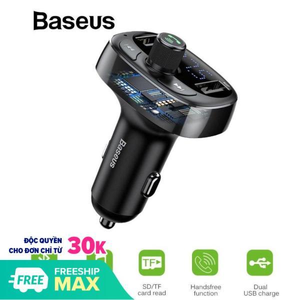 Tẩu  nghe nhạc và đàm thoại rảnh tay Baseus chuyên dụng trên ô tô tích hợp 2 cổng sạc điện thoại, USB  Bluetooth 4.2 - Phân phối bởi Vietstore