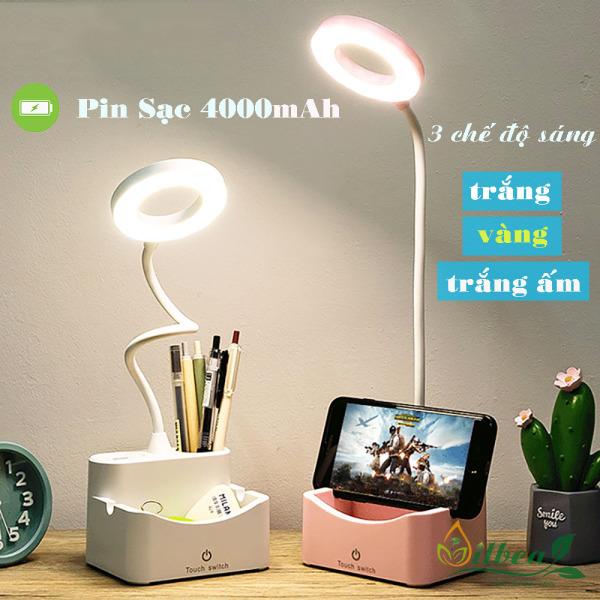 Đèn bàn học để bàn sạc pin tích điện SL-888 4000mAh với 3 chế độ ánh sáng trắng, vàng và trắng ấm điều chỉnh được độ sáng