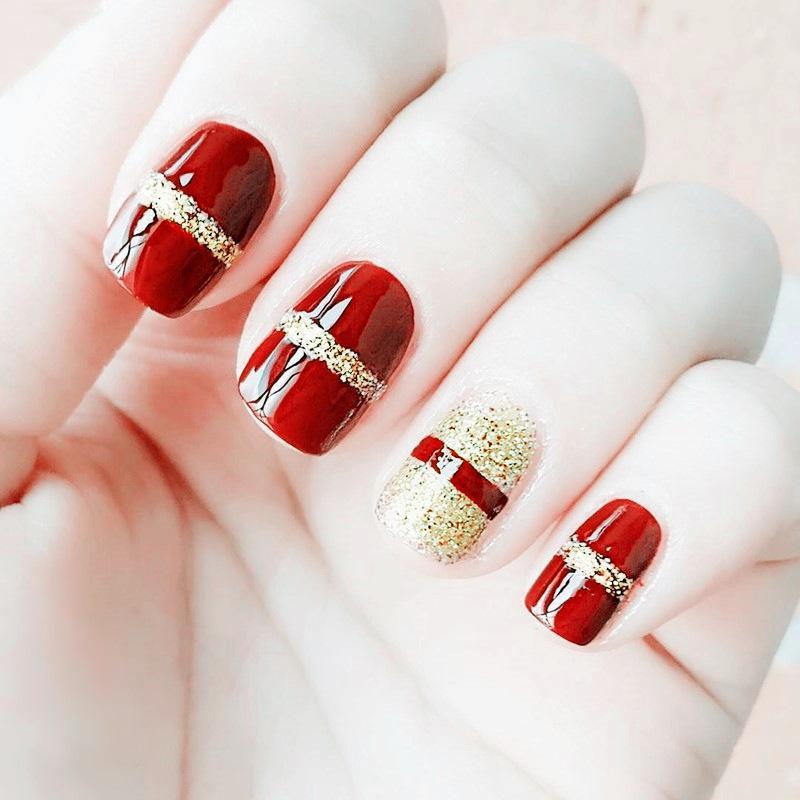Bộ 24 móng tay giả dáng vuông màu đỏ phối vàng ánh kim + tặng kèm keo dáng móng tốt nhất