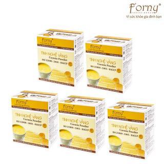 5 Hộp Tinh nghệ vàng Forny 50g (Hộp 10 gói 5g) (Đặc biệt phù hợp với người viêm loét dạ dày, phụ nữ sau sinh hồi phục sức khỏe và sắc đẹp, người sử dụng rượu bia thường xuyên, tốt cho hệ tiêu hóa) (tinh bột nghệ) (Tinh bột nghệ nguyên chất) thumbnail