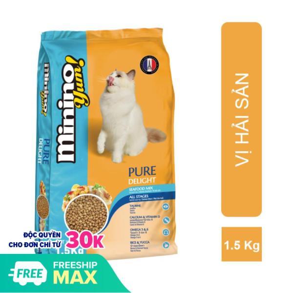 HN Hanpet -(Gói lớn 1,5kg-1,3kg) MININO Thức ăn viên cao cấp cho mèo, dùng cho mèo mọi lứa tuổi Thức ăn mèo me-o vị hải sản và cá ngù