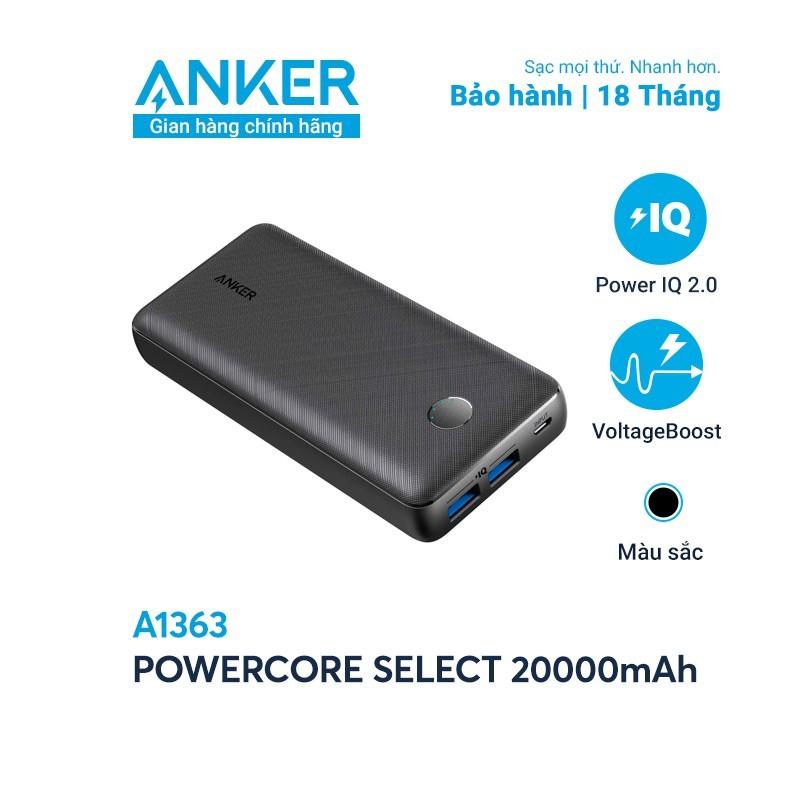 Giá Pin Sạc Dự Phòng Anker PowerCore Select 20000mAh-A1363-Hàng Chính Hãng Bảo hành 18 tháng