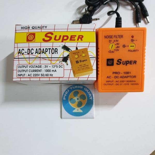 Adaptor AC DC 1000mA - điện 3v 4.5v 6v 9v 12v 13.5v cho máy phun săm radio sạc đa năng adapter