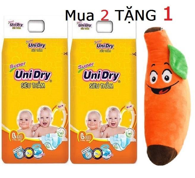 [Tặng gối ôm hình trái chuối] Combo 2 gói tã dán Unidry size L38 cho bé 9 bé đến 14 kg