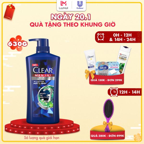 Dầu tắm gội CLEAR Men 3 trong 1 - ACTIVE COOL MÁT LẠNH - 630 g nhập khẩu