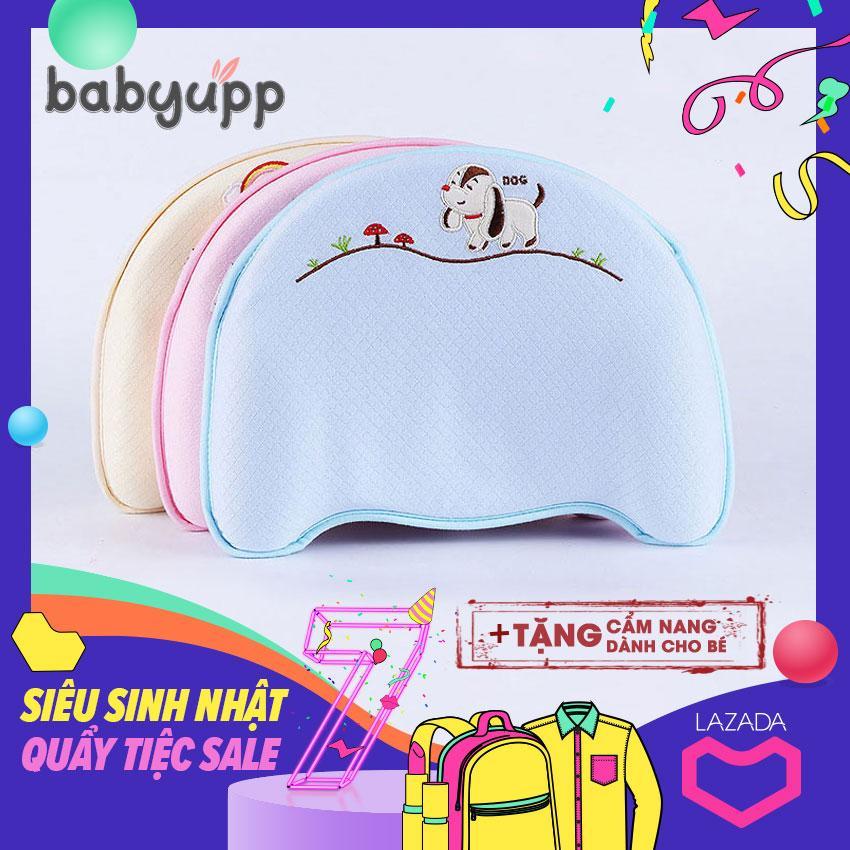 Gối cao su non chống bẹp đầu cho bé Memory Foam Babyupp - Đa năng - Cao cấp - Chống méo đầu, nghẹo cổ, còm lưng cho trẻ sơ sinh