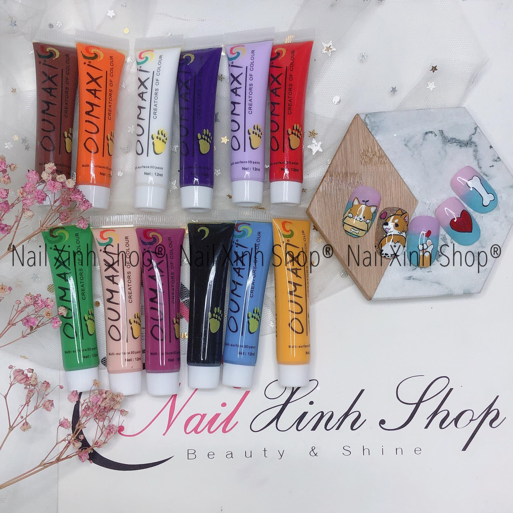 Set 12 tuýp màu vẽ acrylic, màu vẽ móng cao cấp, chuyên dụng nail salon cao cấp