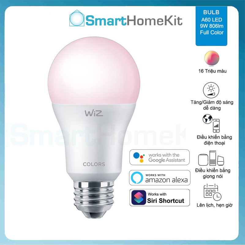Bóng đèn thông minh Philips WiZ Tunable White and Color E27 9W A60 | Kết nối bằng WiFi - Không cần HUB - Hàng Chính Hãng Phân Phối