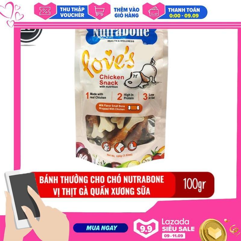 Bánh thưởng cho chó Nutrabone 100gr vị thịt gà và sữa - Milk Flavor Small Bones Wrapped With Chicken