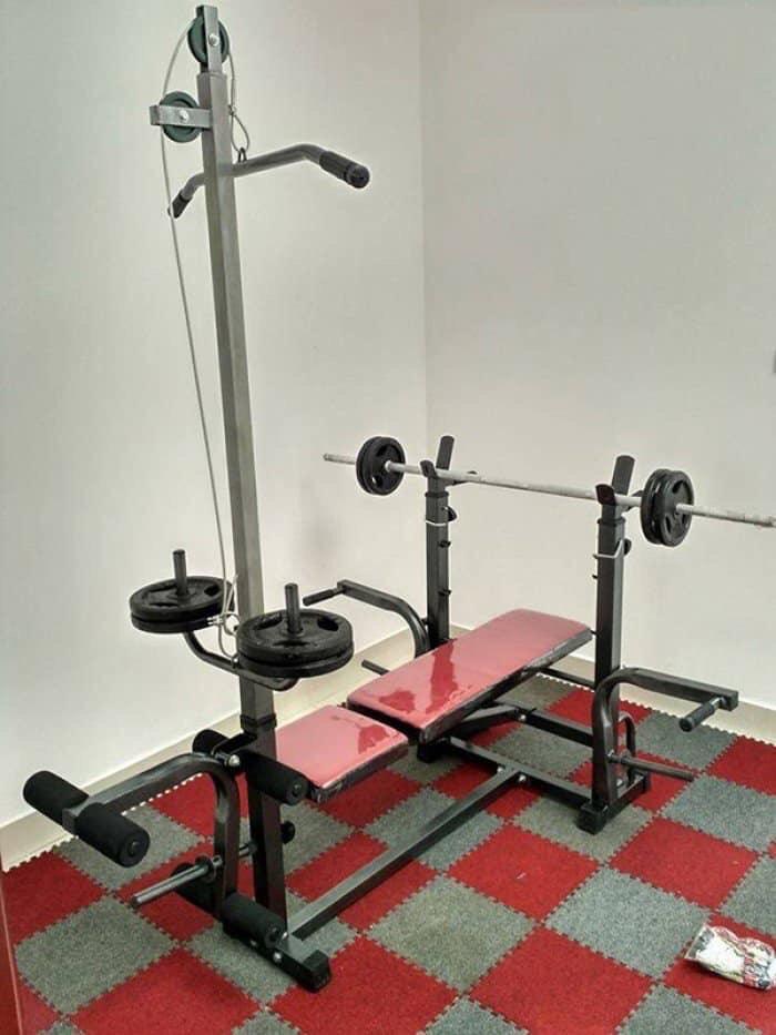 Bảng giá ComBo Ghế đa năng 50kg tạ miếng gang + Đòn 1.5m