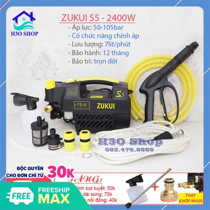 Máy rửa xe ZUKUI S5 màu đen - 2400W - có chức năng chỉnh áp - máy rửa xe mini - máy rửa xe gia đình - máy xịt rửa cao áp - tặng bình bọt xà bông và cây nối dài sung