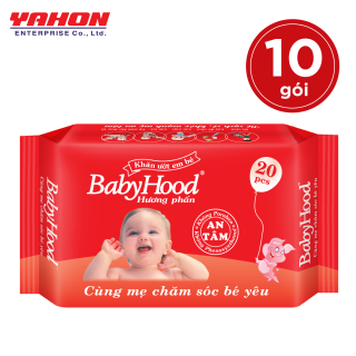 Lốc 10 Bao Khăn Ướt Em Bé Babyhood 20 miếng bao Hương Phấn thumbnail