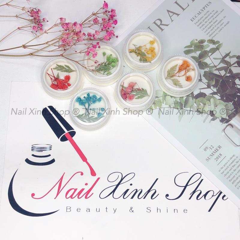 Hũ hoa lụa chùm, hoa khô ẩn gel làm móng, phụ kiện nail đẹp giúp trang trí móng thêm xinh