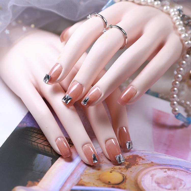 Bộ 24 móng tay giả đính đá vuông + tặng kèm keo dáng móng