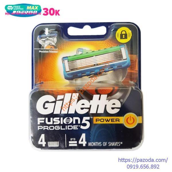 Hộp 4 lưỡi dao cạo râu Gillette Fusion Proglide Power ( đầu cạo 5 lưỡi kép)