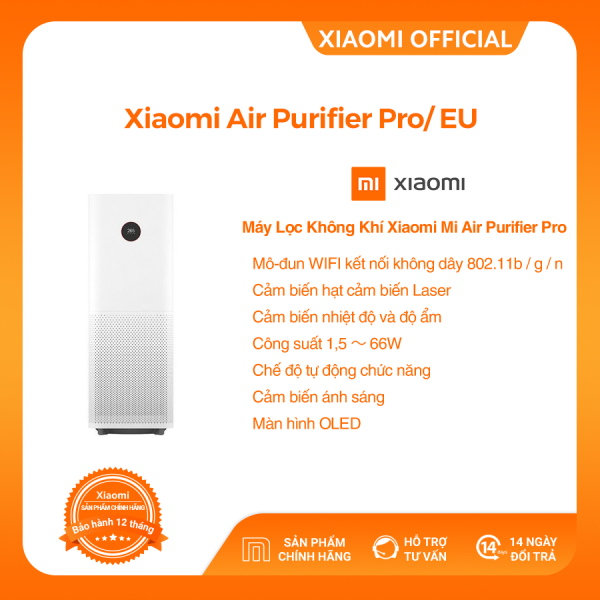 Bảng giá [XIAOMI OFFICIAL] Máy lọc không khí Xiaomi Mi Air Purifier Pro/EU - Điều khiển bằng ứng dụng MiHome, Công suất 60m2, khử mùi, diệt khuẩn, Cảm biến độ ẩm nhiệt kế- Hàng chính hãng - BH 12 Tháng