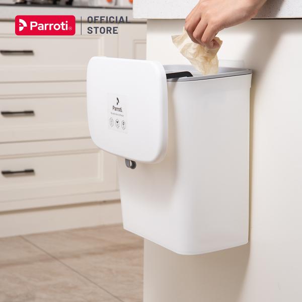 Thùng rác treo tủ bếp có nắp đậy thông minh, thùng rác đa năng dán tường, có thanh trượt cửa bếp – Parroti Bin BN01