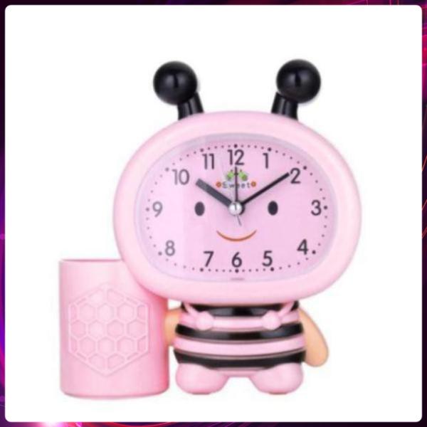 Đồng hồ báo thức điện tử hình chú ong chăm chỉ, Đồng hồ để bàn báo thức chuông kêu to, hình độc đáo dễ thương phù hợp với phòng ngủ, phòng làm việc, sử dụng pin lâu
