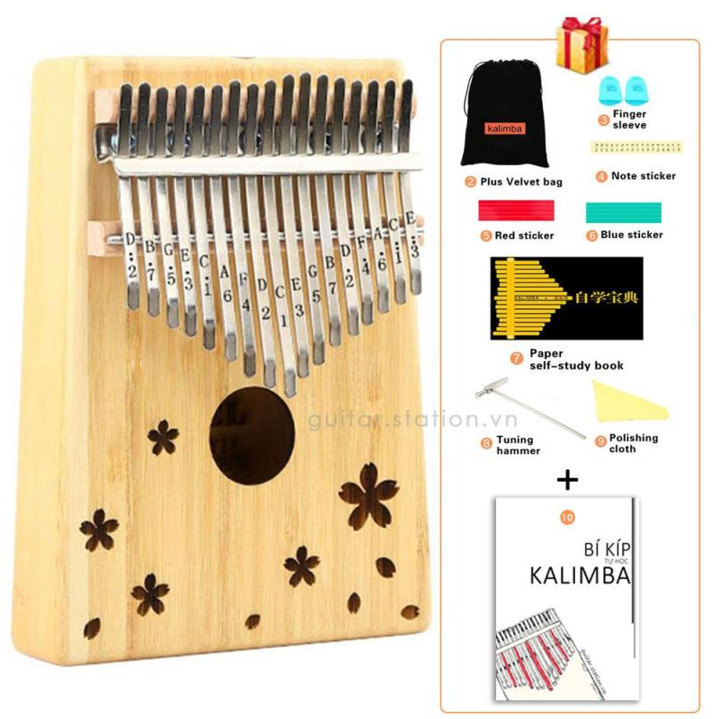 Đàn Kalimba Yael 17 Phím Gỗ - Full phụ kiện - Kalimba-Yael-Sakura