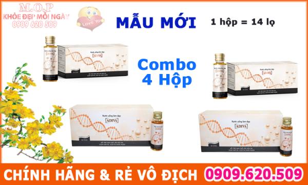 Combo 04 hộp Collagen Adiva nước - CHÍNH HÃNG CTY