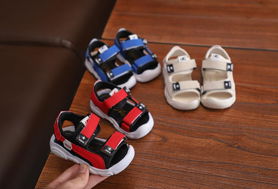 Sandal Bé Trai Quai Ngang Bo Mũi Trước, Da PU êm Mềm (Kem, Xanh Dương, đỏ) Giá Giảm