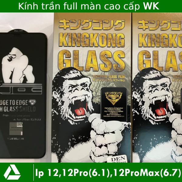 [Kính trần] Kính cường lực Iphone 12, 12ProMax (6.7), 12Pro (6.1), 12 ProMax, 12 Pro full màn WK KingKong Xịn (Miếng Dán màn hình Cường Lực Iphone 12 ProMax, 12 Pro full màn)