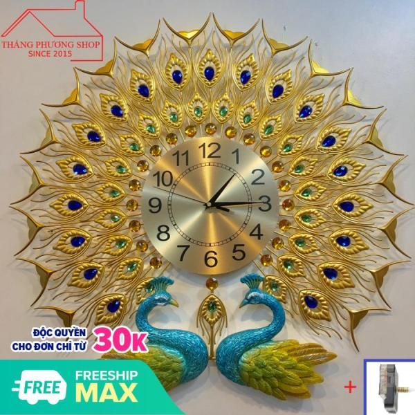 Nơi bán Đồng Hồ Treo Tường Trang Trí Công Đôi TP-032Y (Tặng Máy Đồng Hồ Thay Thế)