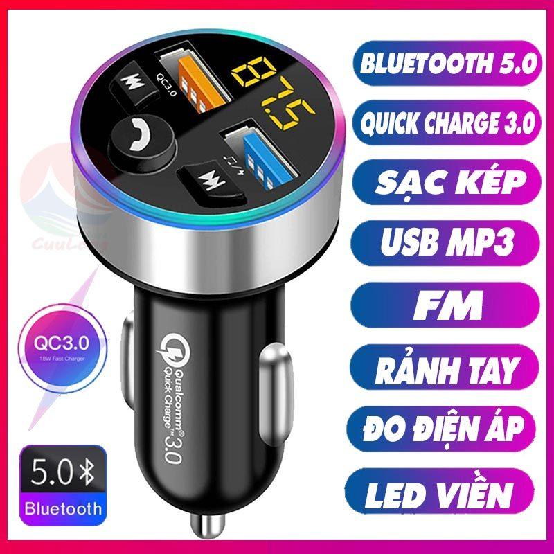 Tẩu Sạc Bluetooth MP3 Đa Năng, Sạc Nhanh Xe Hơi QC 3.0, Bluetooth 5.0, Nghe Nhạc Mp3 FM, Sạc Pin Điện Thoại Led Đo Điện Áp, dock tẩu cốc sạc nhanh nghe nhạc trên ô tô mp3, tẩu sạc gọi rảnh tay, sạc xe hơi phát nhạc Cuulongstore