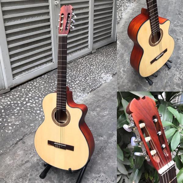 Đàn guitar classic gỗ hồng đào SVC1 có ty chống cong cần, âm sắc rõ ràng, độ vang tốt, có độ bền cao, dễ dàng sử dụng - tặng bao da sách phím gảy