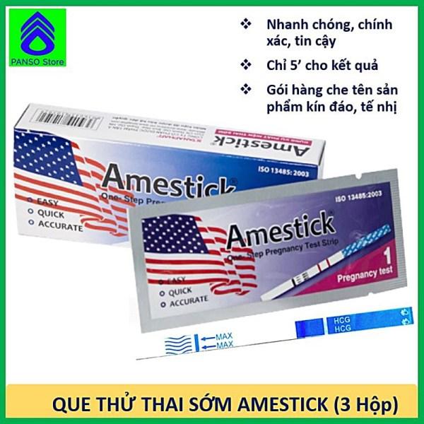 Que thử thai sớm, nhanh chóng, đơn giản, chính xác tin cậy, tiện lợi - Amestick - Combo 3 hộp thử thai (hộp 1 que)  - Dụng cụ thử thai hãng Dược Tân Á [PANSO Store]