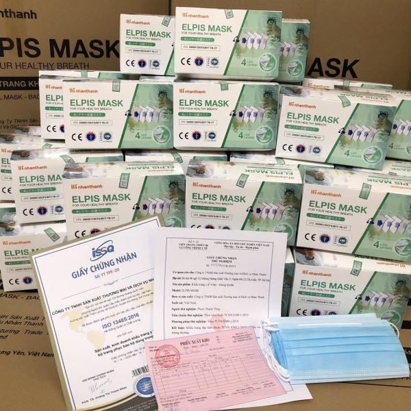 CHÍNH HÃNG - Khẩu trang y tế 4 lớp Hộp 50 cái màu xanh - Elpis mask - Vải kháng khuẩn