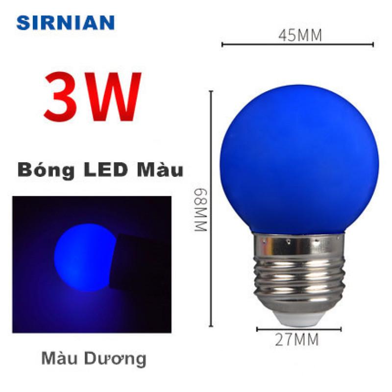 Bóng LED bulb tròn 3W kín nước 5 màu - ghi chú màu bóng trước khi đặt hàng,bảo hành 12 tháng