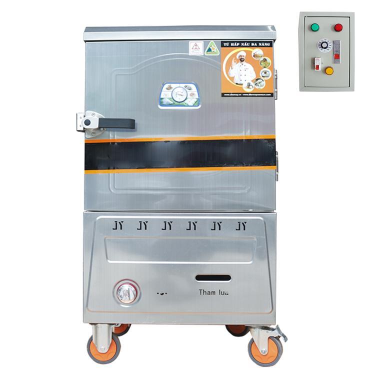 Tủ Nấu Cơm 10 Khay Điện Gas Inox 304 - Bảng điều khiển tự động