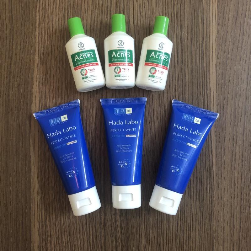 [Bộ SRM + Kháng Khuẩn] 3 Tuýp Kem Rửa Mặt Dưỡng Trắng Hada Labo Perfect White Cleanser 25g + 3 Chai Dung Dịch Dưỡng Dịu Da Kháng Khuẩn Acnes 25 ml giá rẻ