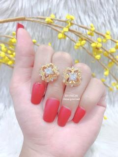 [HCM]Bông tai nữ đính đá mạ vàng 18K cao cấp JK Silver thiết kế tinh xảo cao cấp giá rẻ trang sức hottrendU.bongtai257 thumbnail