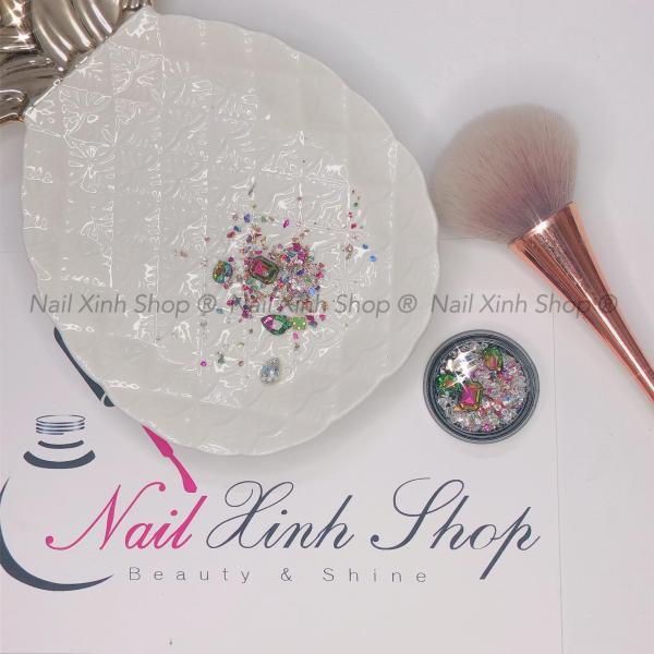 Đá trang trí móng, đá nail hộp tròn, phụ kiện nail, trang trí móng tay tốt nhất