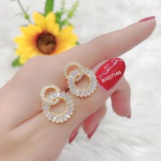 [HCM]Bông tai nữ JK Silver kiểu dáng Hàn Quốc mạ vàng 18K đính kim cương nhân tạo công nghệ xi vàng 4 lớp cao cấp không đen không phai màu không gây dị ứng trang sức nữ cao cấp bong tai nu sang trọng bông tai nữ cá tính U.bong38v thumbnail