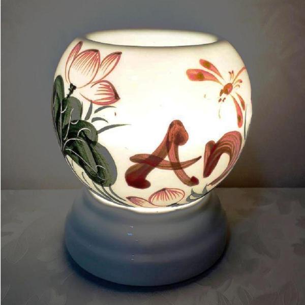 Đèn xông tinh dầu hình Tròn sứ cao cấp Việt Nam vẽ thủ công  kiêm đèn ngủ - Hàng Bán Chạy - MS