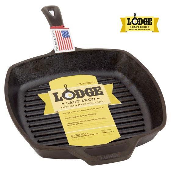 Lodge - Chảo gang rán nướng không dính tự nhiên mặt có rãnh, vuông 26.7 cm x 26.7 cm bếp từ  Lodge L8SGP3 - Sản xuất tại Mỹ