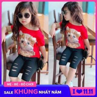Bộ thun kiểu quần rách cực phẩm mùa hè bé gái - size 2-8 - đồ bộ thun cotton cho bé gái -đồ bộ thun cho bé gái - Bộ bé gái thêu hình mèo