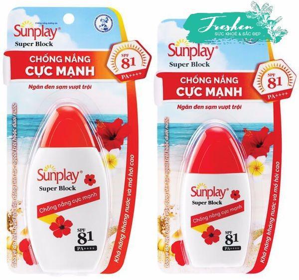 Sunplay Super Block SPF81, PA++++: Sữa Chống Nắng Cực Mạnh Chai 30g
