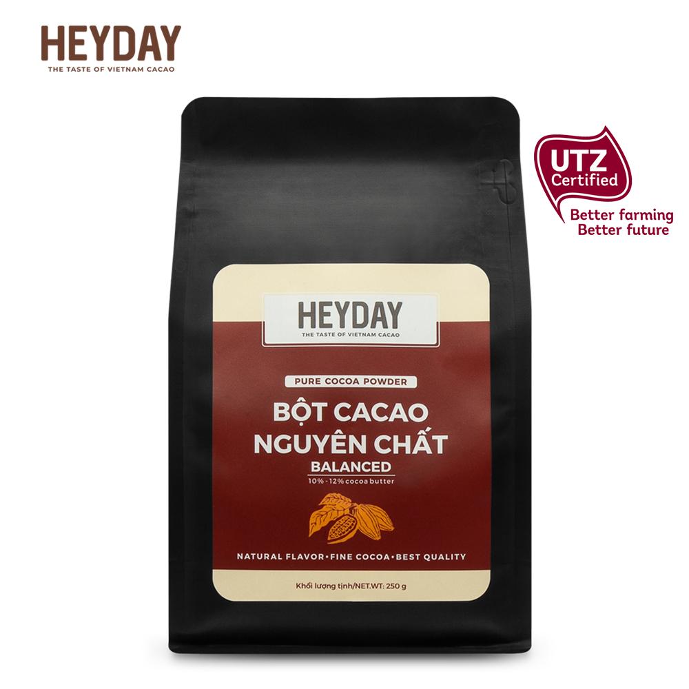 Bột Cacao Nguyên Chất 100% Việt Nam Túi 250g - Dòng Balanced Phổ Thông - Chuẩn UTZ Quốc Tế - Heyday Cacao Giá Sốc Nên Mua
