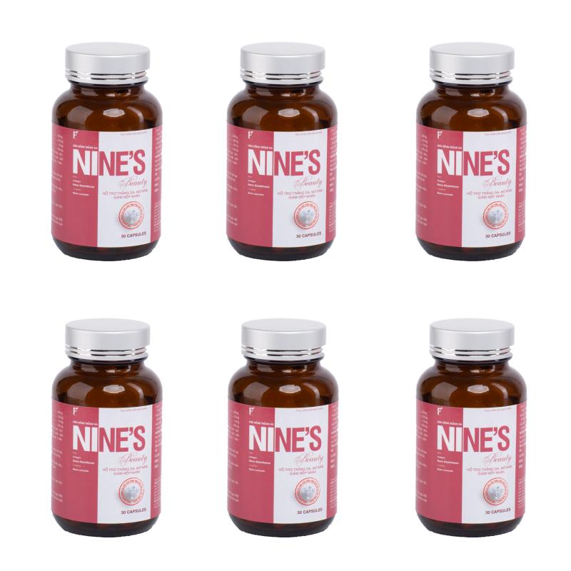 Combo 6 Hộp Viên uống trắng da Nines Beauty 30 viên Giúp trắng da Toàn Thân, Mờ Nám, Giảm Nếp Nhăn, Tăng Cường Nội Tiết Tố Nữ, Chống Lão Hóa, Tăng sức đề kháng, hỗ trợ tăng cường chức năng gan, tuần hoàn máu, ngăn ngừa ung thư